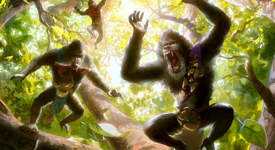 Hooting mandrills mtg art