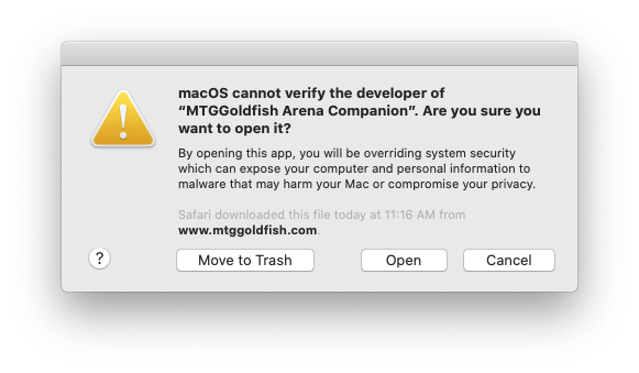MTGGoldfish Arena Companion App Warning