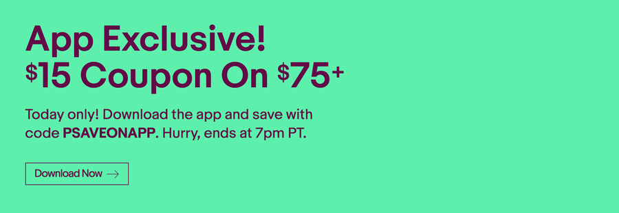 Ebay Flash Sale - Save $15 on $75