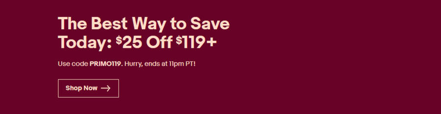 Ebay Flash Sale - Save $25 off $119