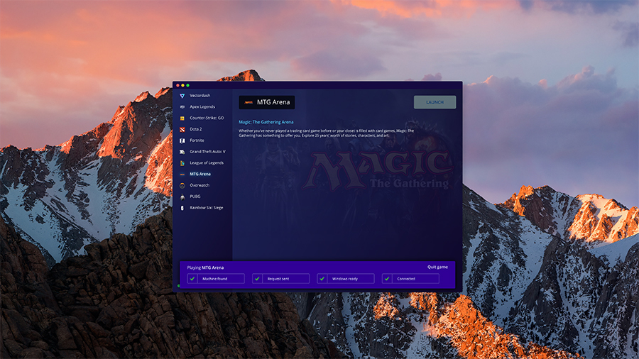 Play Magic Arena on a Mac with Vectordash