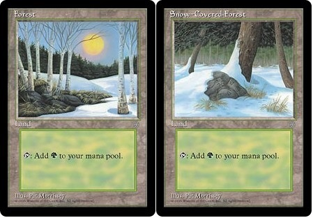 MAGIC THE GATHERING MTG ICE AGE LANDS COMPLETE SET OF 20 CARDS inc snow covered